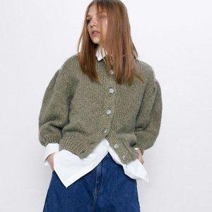 Zara Wool Mohair Cardigan Rhinestone Small